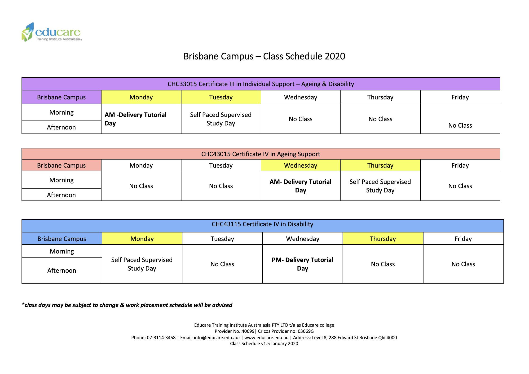 Brisbane-Class-Schedule