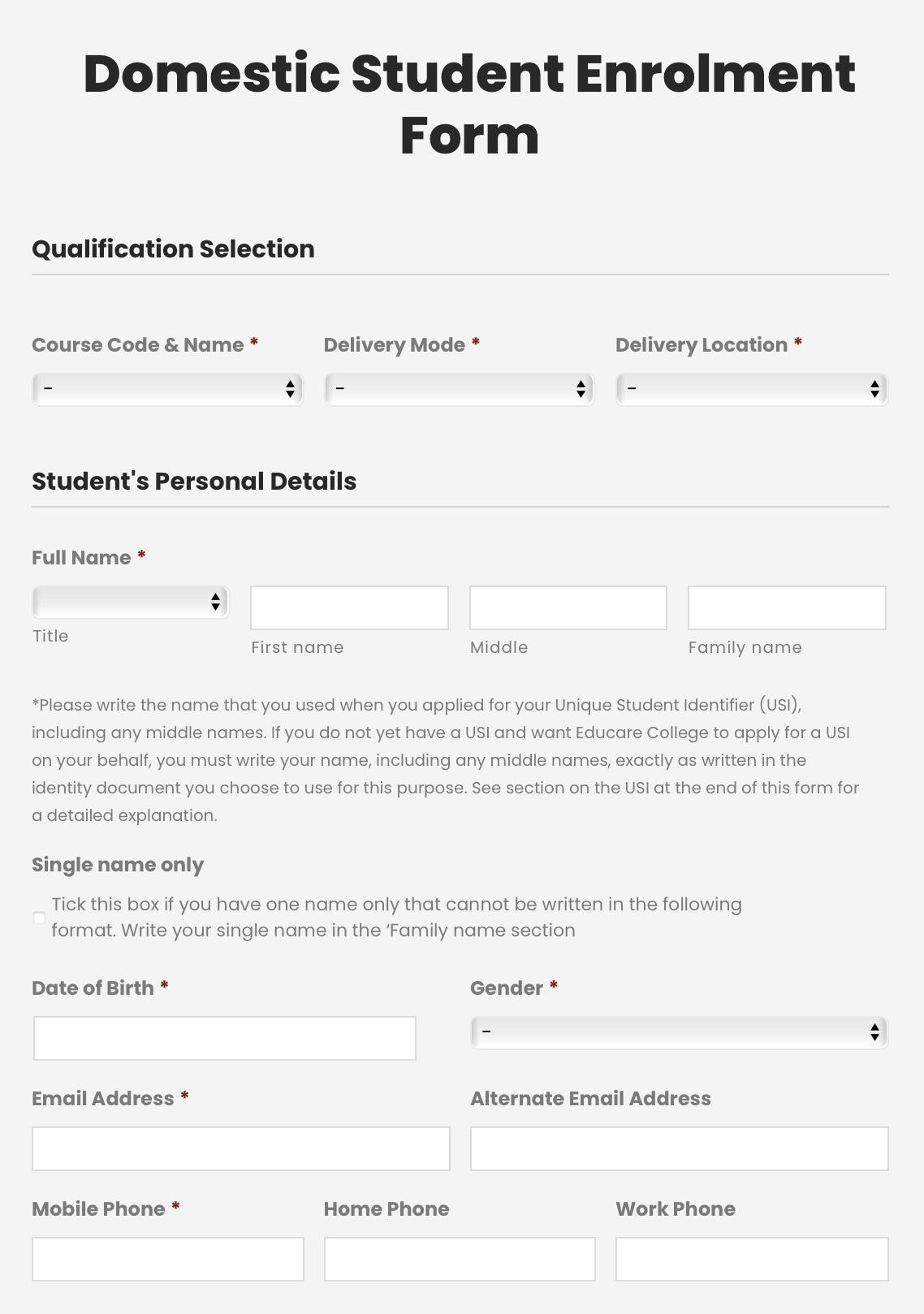 domestic enrollment form